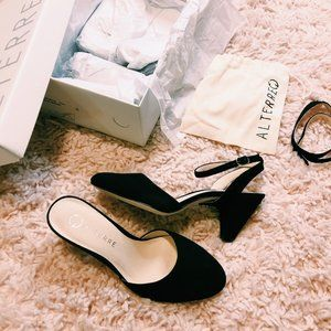 Alterre Black Suede Mule w/ Interchangeable Strap